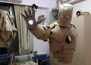 Joselitou: Armadura do Homem de Ferro feita de papelão