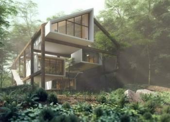 Uma casa suspensa de madeira no meio da floresta