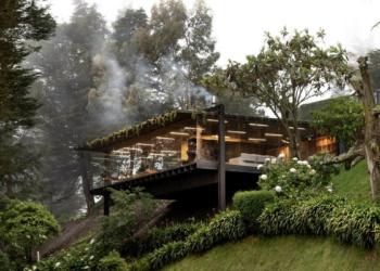 Bela casa com extensão sobre a floresta