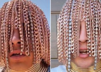 Rapper implanta dreads de ouro